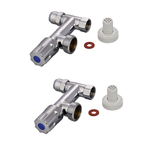 Xavax 2er Set Maschinenanschluss für Wasch- oder Spülmaschine, Messing, Chrom