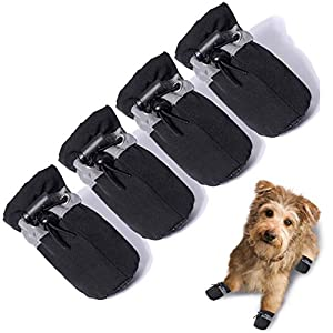 TEOZZO Dog Boots Paw Protector, Anti-Slip Winter Dog Shoes with Reflective Straps for Small Medium Large Dogs 4PCS(Size 4: 1.96″x1.57″)