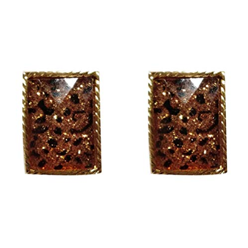 Yhhzw Leopard Print Texture Resin Earrings Golden Plating Brown Square Stud Earrings Women Accessories Jewelry