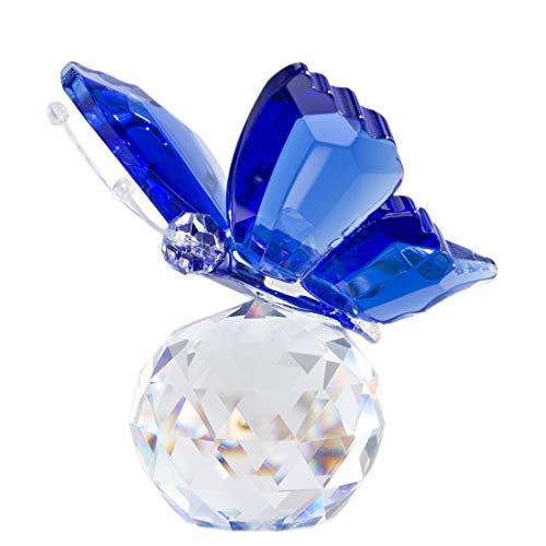 H&D Kristall Fliegend Schmetterling mit Glas Base Figurensammlung Schnitt Glas Ornament Statue Tier Sammler Briefbeschwerer Blau