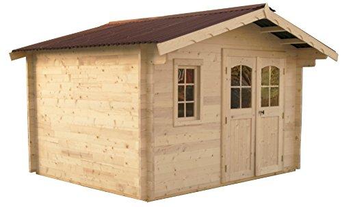 Abri en madriers massifs avec 1 fenêtre - 8,70 m²
