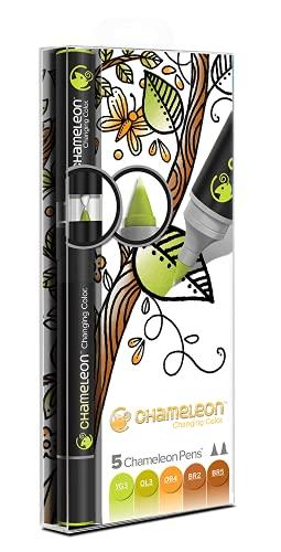 Chameleon Art Products - 5 rotuladores de alcohol permanentes; Tonos Tierra