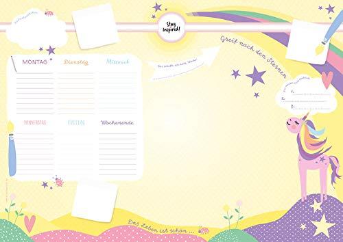 Schreibtischunterlage Kinder aus Papier in Gelb / Rosa mit Einhorn Motiv | 50 Blatt zum Abreißen in DIN A2: | Schreibtisch Unterlage für Mädchen