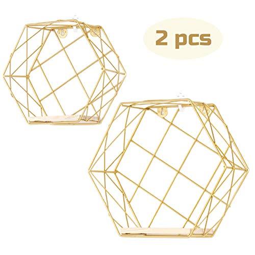 Infinite Node Schweberegale An der Wand befestigte Metalldraht Kunst Hexagon Regale mit rohem Holz für Anzeige, Haus Dekoration Wandregale 2er Set (Gold, Gitter)