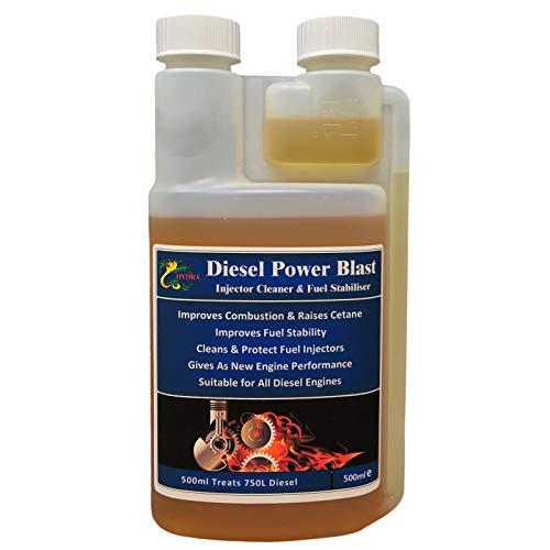 HYDRA Diesel Stabilizzatore Iniettore Detergente - Trattamento Diesel Power Blast per autoveicoli, furgoni, autobus, generatori compatibili con tutti i tipi di motori diesel, 500 ml