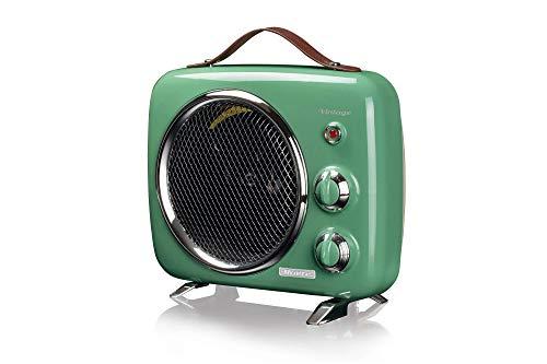 Ariete 808 Vintage Heizlüfter, kalt und warm, regelbares Thermostat, Tragegriff, 2000 W, grün