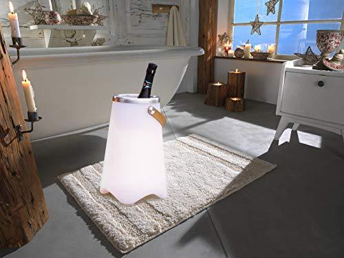 3in1 LED Leuchte CALLOON mit Bluetooth Lautsprecher und Fernbedienung – RGB Farbwechsel & Flaschenkühler mit praktischem Ledergriff, Höhe 50cm- für Indoor & Outdoor (IP44)