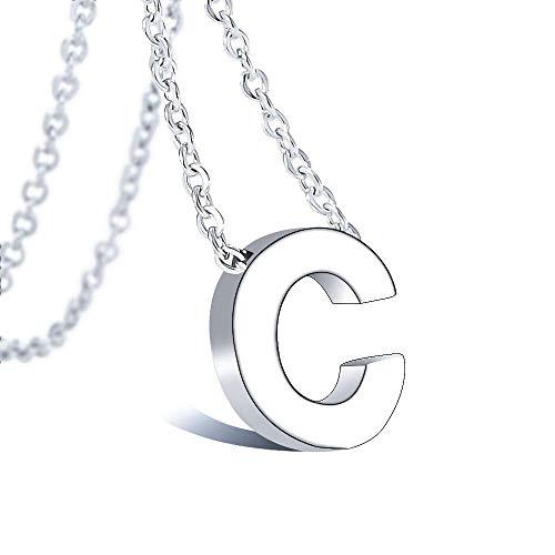 VU100 Collar Inicial C para Mujer Niñas Colgante Letra de Acero Inoxidable Plata, 45cm Cadena Cuerda