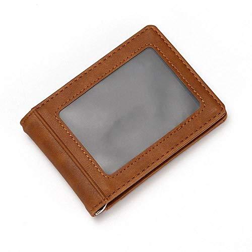 Heren Crazy Horse lederen portemonnee RFID anti-diefstal creditcardetui roestvrij staal portefeuille bank creditcardetui, bruin (bruin) - 9870410352379