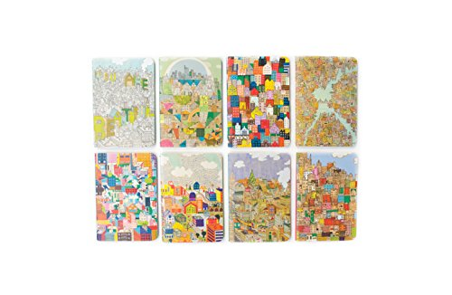 """OOLY 118-164 Pocket Pal Journal Pack of 8, (3.5"""" x 5"""") - Urban Cities"""