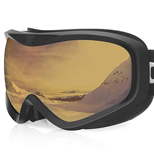 devembr Skibrille für Brillenträger Herren & Damen, Snowboardbrille Klar, Anti Fog, UV-Schutz, OTG,Winddicht, Schneebrille für Skifahren Snowboard Wintersport, Schwarzer Rahmen, Orange Linse (VLT 33%)