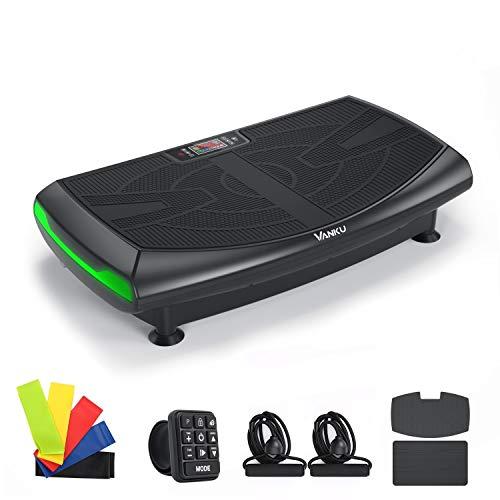 Vanku Fitness Plataforma Vibratoria 4D con Triple Motor para Adelgazar, 7 Modos de Entrenamiento + 120 Nivel, Altavoces Bluetooth, Motor Silencioso con Control Remoto y Bandas de Elásticas