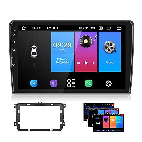 Android 9.0 Autoradio GPS für VW CAMECHO 10 Zoll Touchscreen Radio WiFi SIM-Karte Spiegel Link Bluetooth FM AM RDS Radio mit USB für Golf Polo Touran Tiguan Sitz Altea