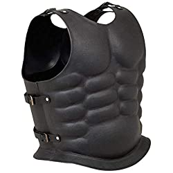 Faux Leather Mounted Muscle Armor, Black, Fully Wearable Costume Armor
