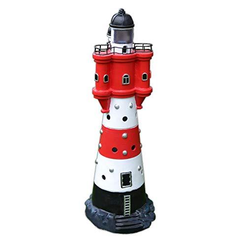 XL LED Solar Leuchtturm 50 cm Garten Deko Leuchtfeuer Rot Weiß Gartendeko Beleuchtung Mit Dämmerungssensor Solarbeleuchtung Gartendekoration