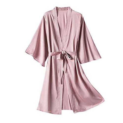 Satén Bata Albornoz Camisón Seda Satén Sexy De 1 Pieza Color sólido para Mujer Ropa Casual Ajustable Tentación Atractiva Lencería Ropa De Dormir Pijama Ideal para El Hogar