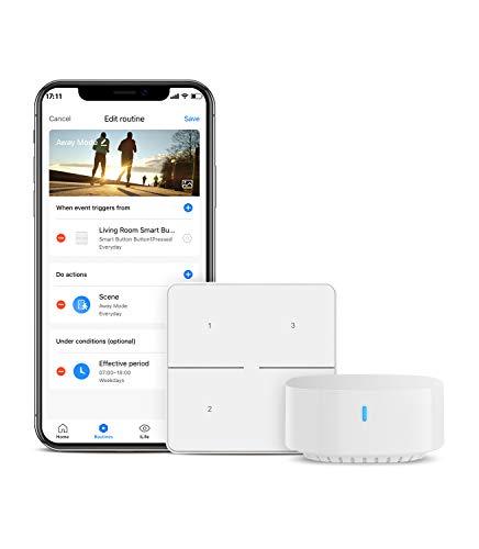 BroadLink Wireless Smart Button mit Hub, Schalter zur Szenensteuerung und Fernsteuerung von Smart Home-Geräten, 3-Wege-Lichtsteuerung mit Smart-Lichtschalter