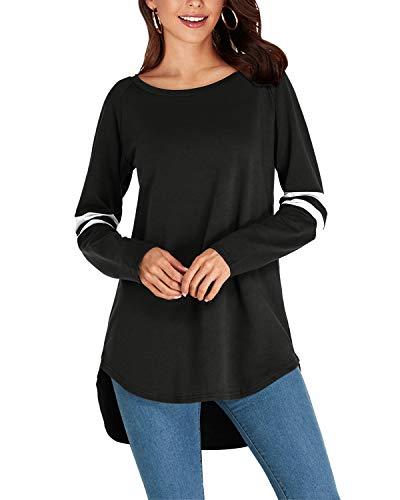 VONDA Tops Damen Langarm Baseball Shirt Rundhals Longshirt T-Shirt Kleider Casual Oberteile B-Schwarz L