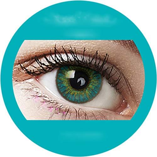 Aqua: Farbige Jahres Kontaktlinsen ohne Stärke mit Aufbewahrungsbox braun blau grün grau türkis weich als 2er Pack (2 Stück) angenehm zu tragen, perfekt für helle und dunkle Augen