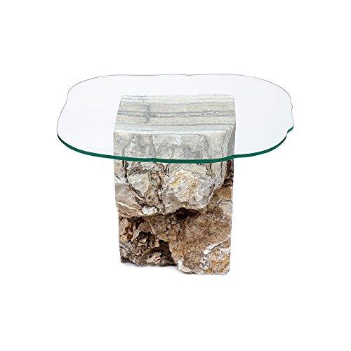 wohnfreuden Onyx stenen tafel marmer glasplaat bijzettafel salontafel woonkamer 35 x 40 x 48 cm