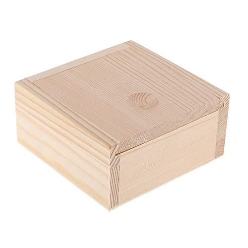 Fenteer Caja de Madera Sin Pintar Caja de Té de Madera para Manualidades, Organizador de Joyas, Contenedor de Caja de Aceite, Caja de Almacenamiento en El Hog