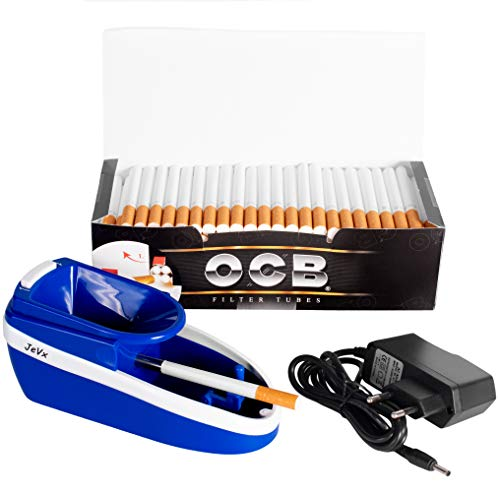 JeVx Maquina Liadora de Tabaco + 200 Tubos con Filtro OCB - Entubador Electrico para LLenado de Cigarros Entubar Cigarrillos de Fumar entubadora Electrica para liar (Azul)