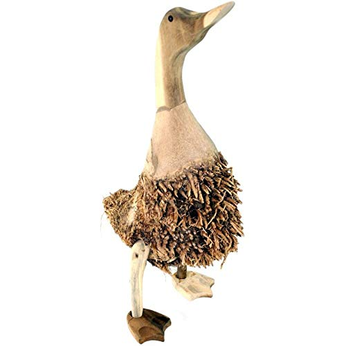 kenai Laufente XL, Bambuswurzel-Ente 46-50 cm, Holz Ente mit Bambuswurzel-Gefieder, Bamboo Root Duck, Teak Wood Duck with Bamboo Root Plumage