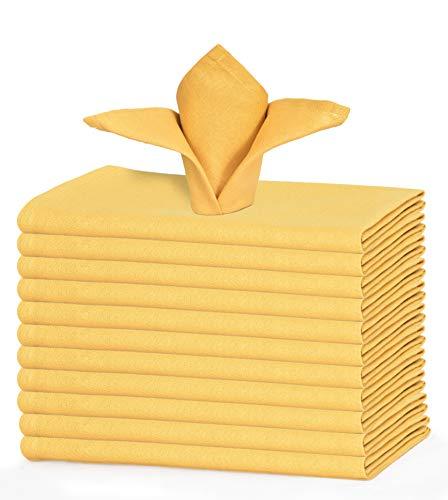 GLAMBURG Juego de 12 servilletas de algodón, servilletas de Tela 46x46 Cm, servilletas de cóctel Suaves y cómodas, servilletas de Boda, servilletas de Navidad, Lavables a máquina - Amarillo Mostaza