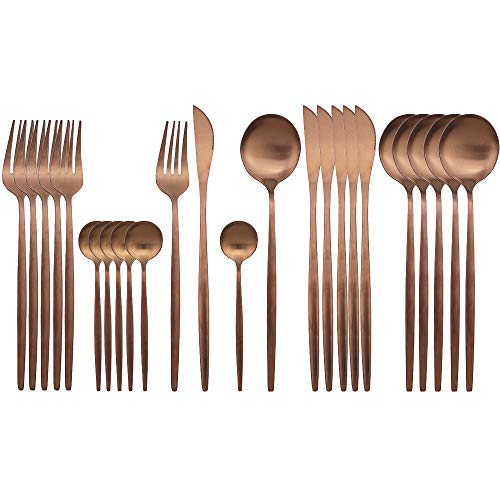 JASHII Rose Gold Silverware Set, 24 Pieces Stainless Steel Copper Flatware Set Cutlery Sets, Include Knife Fork Spoon Teaspoon, Service for 6 (Matte Rose Gold)