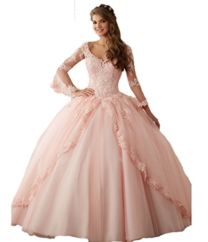 CoCogirls Prinzessin Tuell Ballkleider Spitze Lange Ärmel Festkleid Abendkleid Quinceanera Kleider Party Kleid Formell Ballkleid (38, Pink)