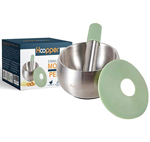 Hoopper Stainless Steel Mortar and PestlePill CrusherSpice GrinderHerb BowlLarge Bowl with Silicone LidStainlessSteel Kitchen Accessory