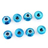Hosim 4MM Wheel Lock Nuts Nylon M4 Flange Serrated Self-Tightening Hardware Aluminum for Traxxas Axial HPI TLR ECX Model RC Car Vehicles Upgraded Replacement Parts Blue (Set of 8)