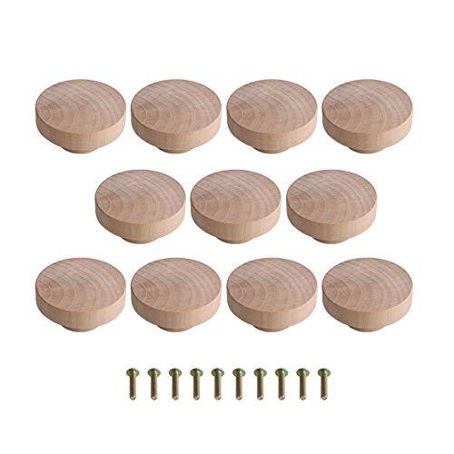 10 pomelli rotondi in legno, effetto non finito, per cassetti, pomelli per armadi, mobili e cassetti, 50 mm x 25 mm
