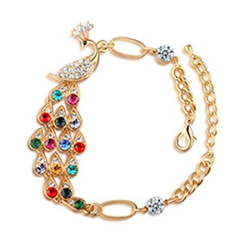 Jackie Colorful Peacock Style Shiny Coloured Diamond Bracelet Hand Ring Bangle Wrist Chain Gift
