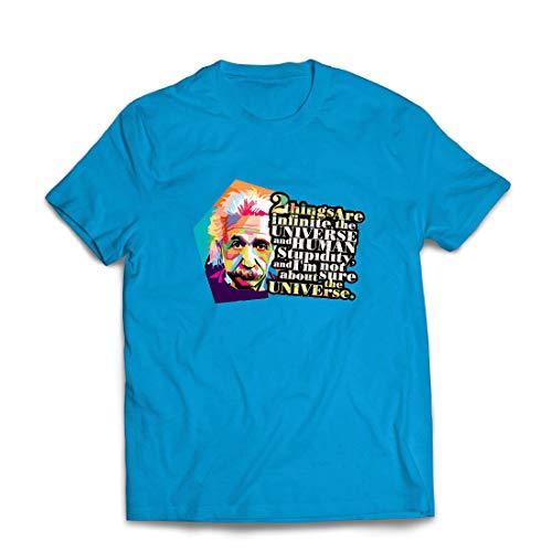 lepni.me Männer T-Shirt Wissenschaftler Physik Albert Einstein Menschliche Dummheit Sarkastisches Zitat (X-Large Blau Mehrfarben)