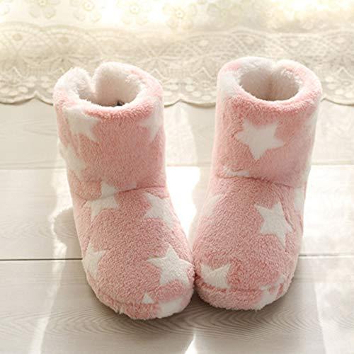 VOMI Hombres Mujeres Invierno Cálido Pantuflas Suave Cómodo Resistente al Desgaste Antideslizante Zapatillas Suela Goma Botas Mejor, Rosado,EU 38 39