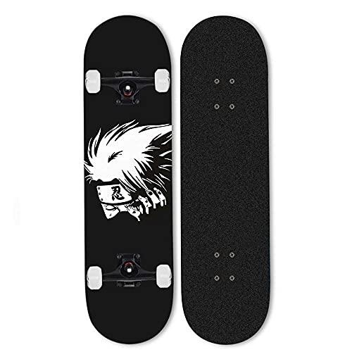ZHANGYH skateboard nybörjare professionell komplett skateboard personlighet skateboards Naruto Hatake Kakashi skridskobrädor 7-lager lönn skridskobräda för tonåringar ålder 15-31 x 8 tum