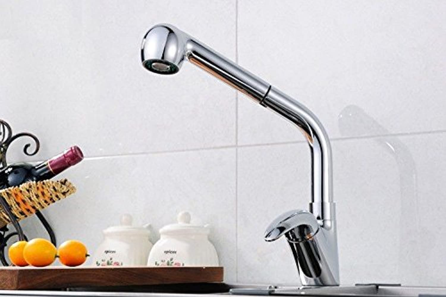 GQLB Kitchen faucet sink mixer taps kitchen sink tap pull-out spout head chrome cold and hot handle mixer taps