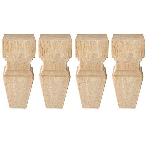 15cm Holz Möbelfüße, La Vane 4 Stück Massivholz Eckig Pyramide Geschnitzten Ersatz Tischbeine Möbelbeine für Sofa Bett Schrank Couch Stuhl