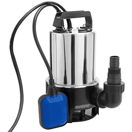Deuba Schmutzwasserpumpe 11.500 l/Std 10m Stromkabel 650 Watt 25mm Fremdkörper Förderhhöhe 8m Edelstahl Schwimmerschalter