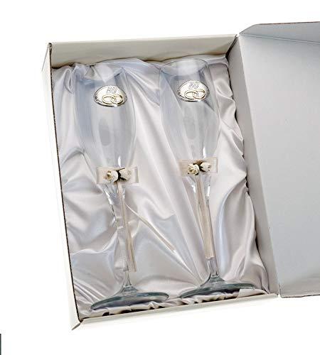 Copas 50 Aniversario bodas de Oro Personalizadas con Grabado en Cristal lazo