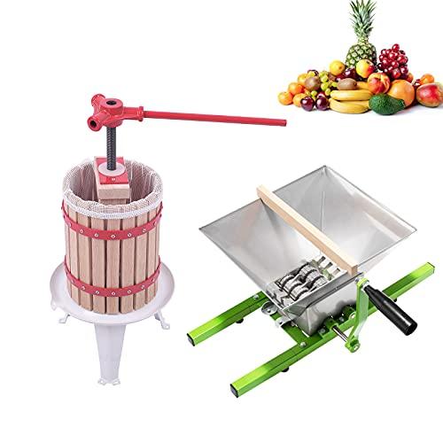 UISEBRT 7L Obstmühle Traubenmühle Apfelpresse & 6L Obstpresse Weinpresse Saftpresse Mechanisch mit Pressentuch