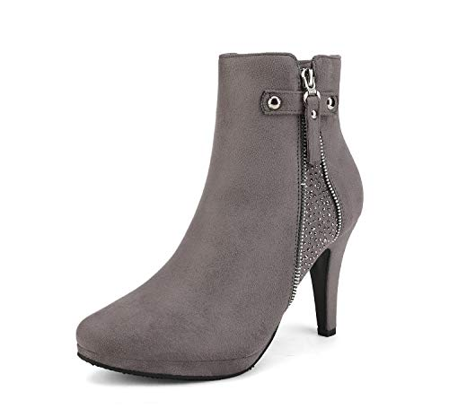 DREAM PAIRS Women's Cecile Light Grey Platform High Heel Ankle Booties Size 10 M US