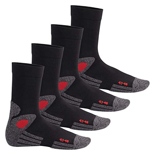 Celodoro Damen und Herren Trekking-Socken (4 Paar), Arbeitssocken mit Frotteesohle - Schwarz-Rot 43-46