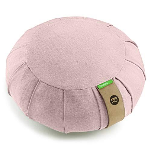 IR Rootrica. Cojín de meditación zafu redondo desenfundable, de algodón natural, un diseño elegante y un asiento óptimo para una práctica de yoga para adultos y niños (rosa)
