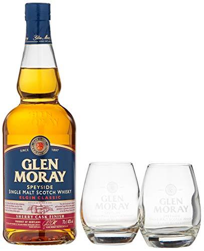 Glen Moray Elgin Classic Sherry Cask Single Malt Scotch Whisky mit 2 Gläsern (1 x 0.7 l)