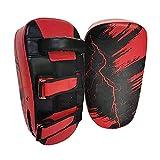 F Fityle Kicking Shield Almohadillas de Boxeo Mitones de Enfoque, Almohadilla de Mano Curva Ajustable, Escudo de Mano de Cuero de PU para MMA, Artes Marciales, Rojo