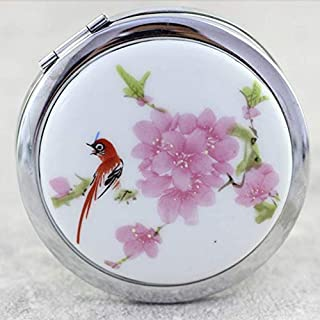 Makeup Mirror for Women Girls Small Round Folding Mirror Magnifying Makeup Compact Double Mirror Ceramic Chinese Tradition...