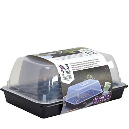 Anzuchtkasten mit Plastikwanne und Deckel - 42 Zellen - Schwarz - Pflanzschale für Tabs und Erde
