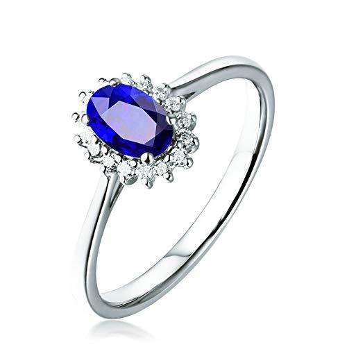Daesar Anello Donna Fidanzamento Oro Bianco 18K 1ct Zaffiro Blu A Forma di Fiore Ovale Anello con Diamante Anello Oro Donna Matrimonio Misura 22